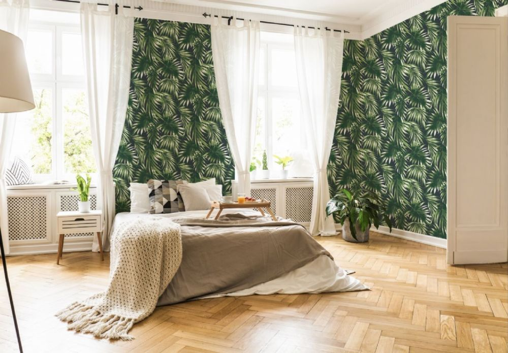 Graham and Brown Elegant Leaves Green 106413 Wallpaper PB